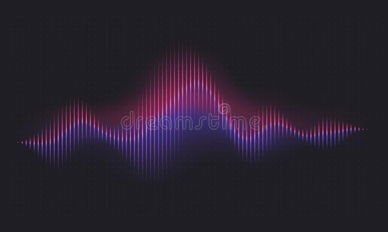 Onde sonore abstraite Forme d'onde numérique de voix, vague vibrante de technologie vocale de volume Fond sain de vecteur d'énerg illustration de vecteur