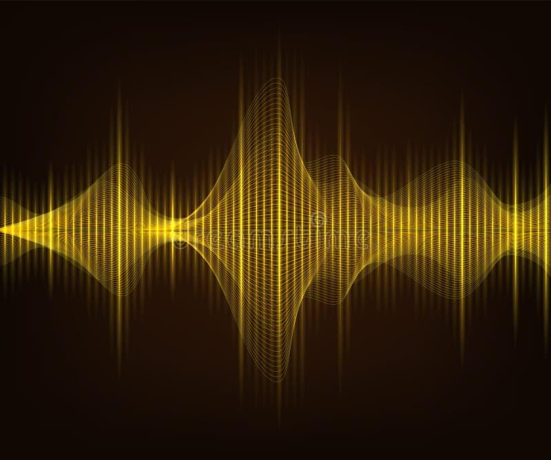 Onde sonore brillante d'or sur le fond de brun foncé Illustration de tecnology de vecteur illustration libre de droits