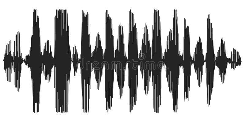 Onde sonore che registrano discorso, reverb, sintetizzatore della voce dell'icona di vettore, onde acustiche dello spettrogramma royalty illustrazione gratis