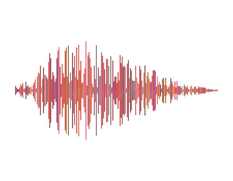 Onde sonore D'isolement sur le fond blanc Illust coloré de vecteur illustration libre de droits