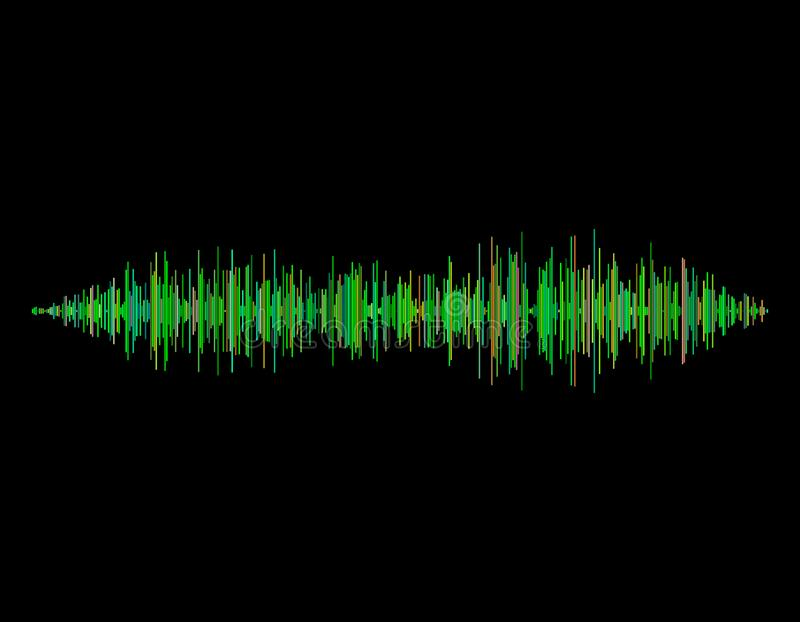 Onde sonore D'isolement sur le fond noir Illustration de vecteur illustration de vecteur