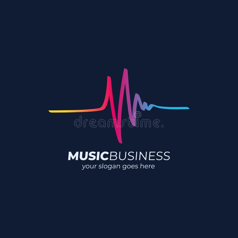 Onde sonore de concept de logo de musique, technologie audio illustration stock
