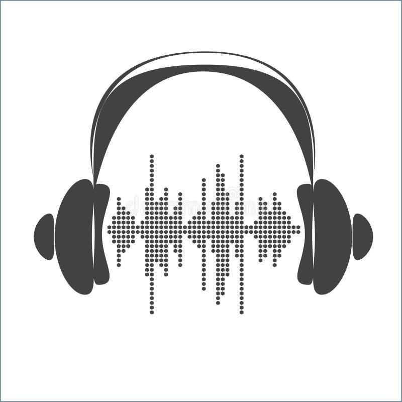 Onde sonore de vecteur avec des écouteurs illustration libre de droits