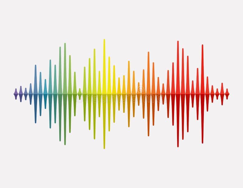 Onde sonore de vecteur Ondes sonores colorées pour la partie, DJ, bar, clubs, discos Technologie audio d'égaliseur Vecteur illustration libre de droits