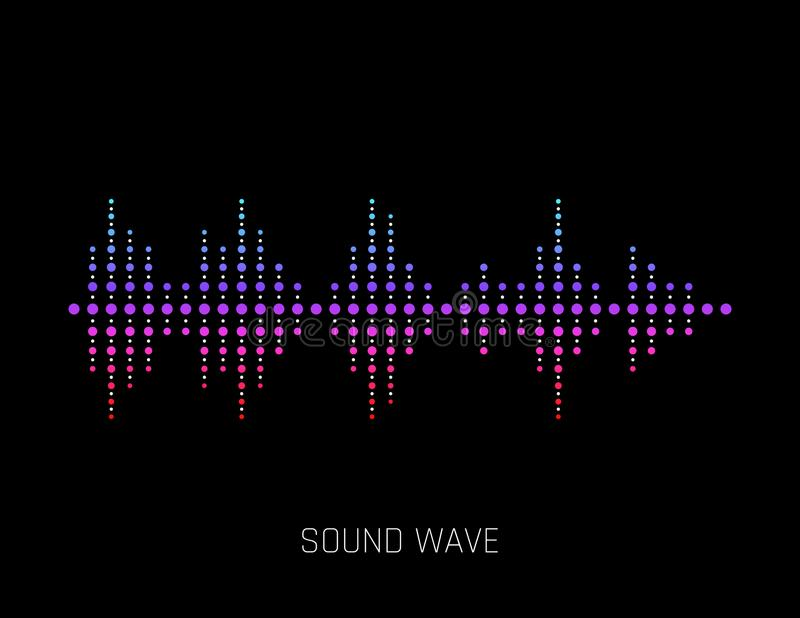 Onde sonore de vecteur Ondes sonores colorées pour la partie, DJ, bar, clubs, discos Technologie audio d'égaliseur Vecteur illustration de vecteur