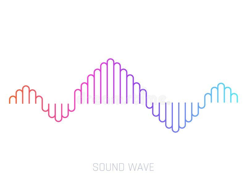 Onde sonore de vecteur Ondes sonores color?es pour la partie, DJ, bar, clubs, discos Technologie audio d'?galiseur Vecteur illustration libre de droits