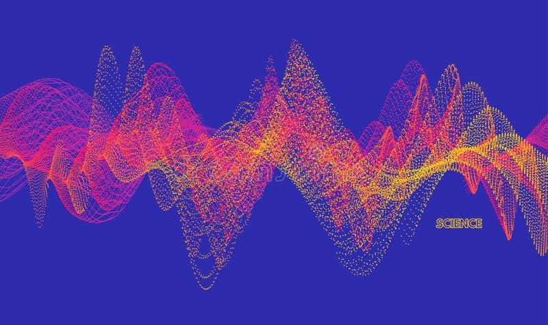 Onde sonore Effetto dinamico Illustrazione di vettore con la particella superficie di griglia 3D illustrazione di stock