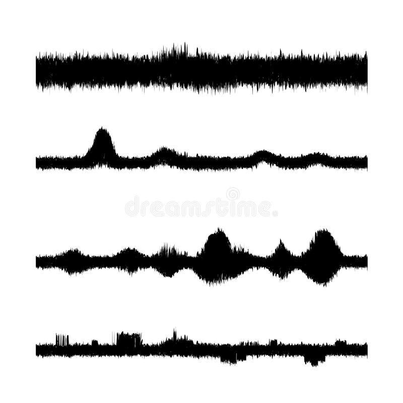 Onde sonore impostate Schermo dell'equalizzatore Grafico musicale di vibrazione Ampiezza d'onda radiofonica illustrazione vettoriale