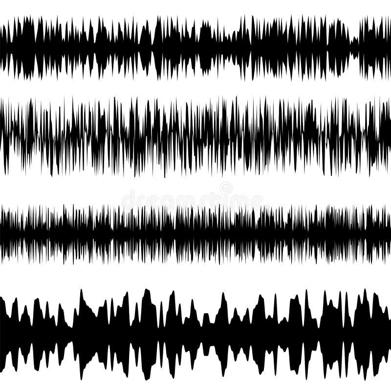 Onde sonore nere messe Schermo dell'equalizzatore Grafico musicale di vibrazione Ampiezza d'onda radiofonica illustrazione vettoriale