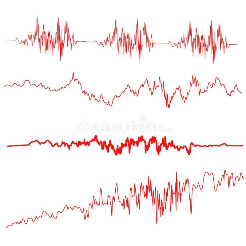 Onde sonore rosse messe Schermo dell'equalizzatore illustrazione di stock