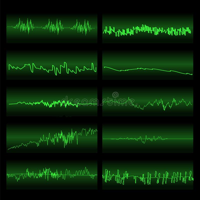 Onde sonore verdi messe Schermo dell'equalizzatore illustrazione vettoriale