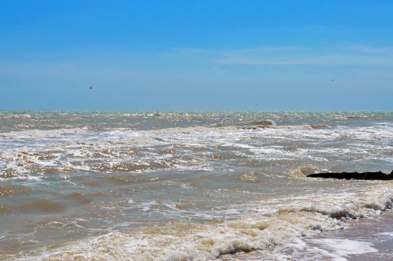 Onde sulla riva Onda del mare con luce solare Bella vista del mare e del cielo blu immagine stock libera da diritti