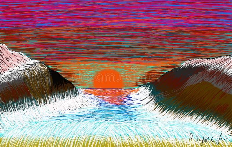 Download Onde sulle rocce illustrazione di stock. Illustrazione di brown - 117981592