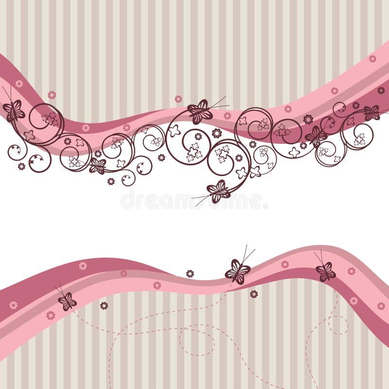 Onde, turbinii e farfalle di colore rosa illustrazione vettoriale