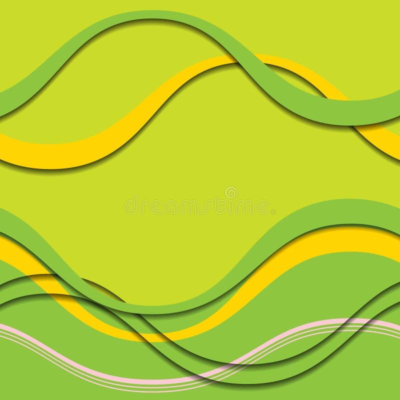Onde verdi e gialle astratte con le ombre royalty illustrazione gratis