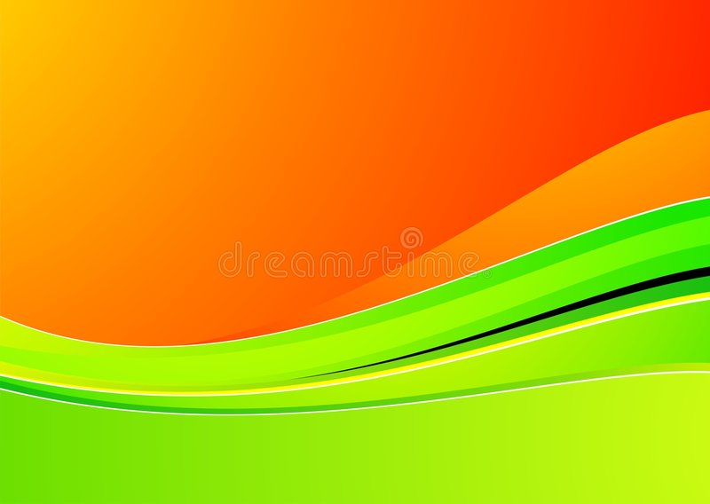 Onde verte sur le fond orange pour la conception illustration stock