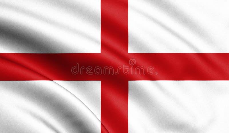 Ondeggiamento della bandiera dell'Inghilterra ed illustrazione alla moda d'ondeggiamento della bandiera 3d del primo piano Perfez illustrazione vettoriale