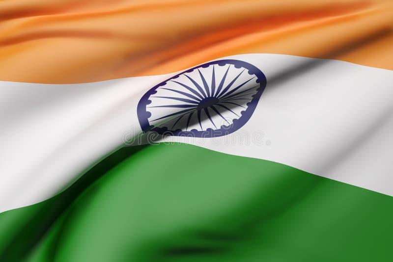 Ondeggiamento della bandiera della Repubblica Indiana illustrazione vettoriale