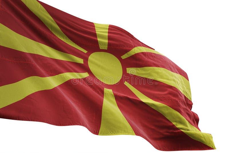 Ondeggiamento della bandiera nazionale della Macedonia isolato sull'illustrazione bianca del fondo 3d royalty illustrazione gratis