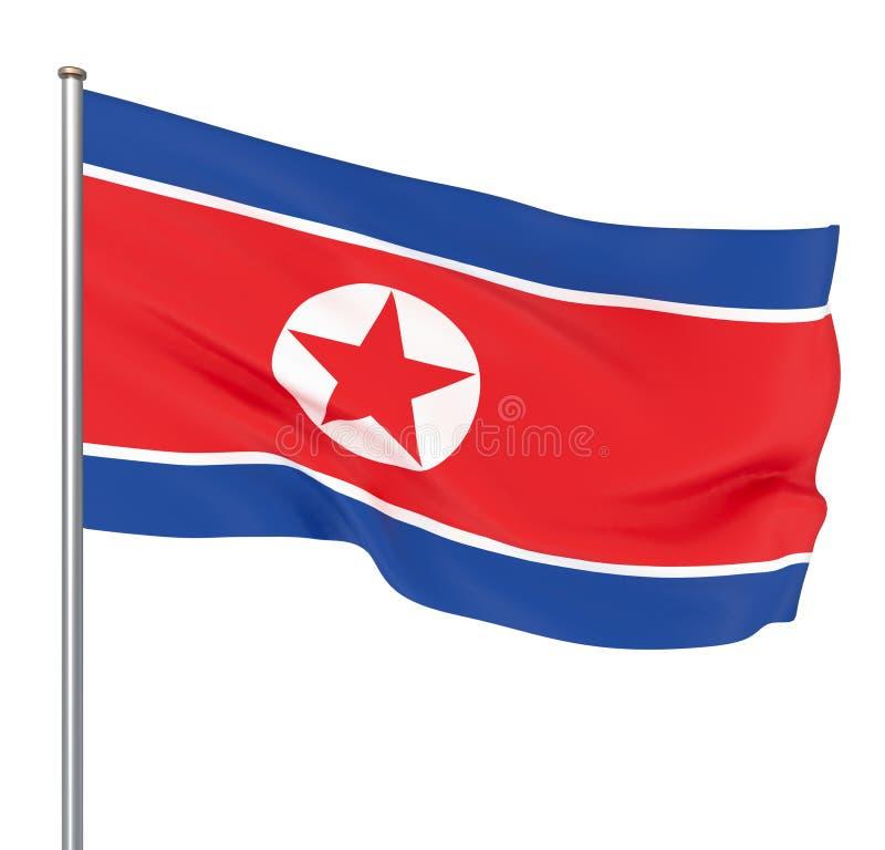 Ondeggiamento della Corea del Nord ed illustrazione alla moda della bandiera 3d del primo piano Perfezioni per gli scopi di strut royalty illustrazione gratis