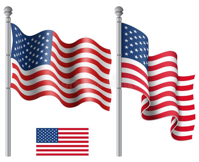 Ondeggiamento delle bandiere americane illustrazione vettoriale