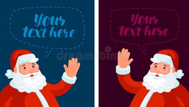 Ondeggiamento felice di Santa Claus Natale, natale, insegna del nuovo anno Illustrazione di vettore del fumetto illustrazione di stock