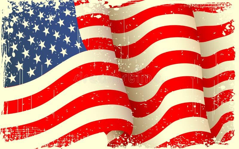Ondeggiamento Grungy della bandiera americana illustrazione vettoriale