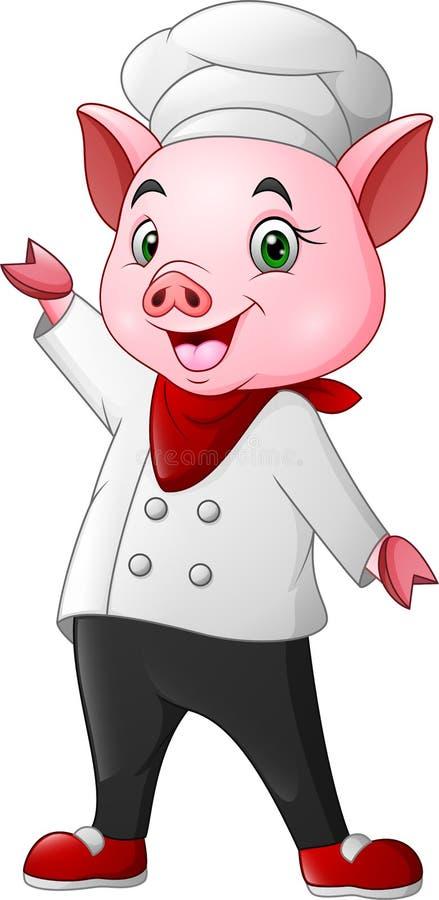 Ondeggiamento sveglio del fumetto del maiale del cuoco unico illustrazione di stock