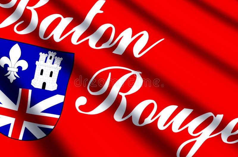 Ondeggiamento variopinto di Baton Rouge ed illustrazione della bandiera del primo piano illustrazione vettoriale
