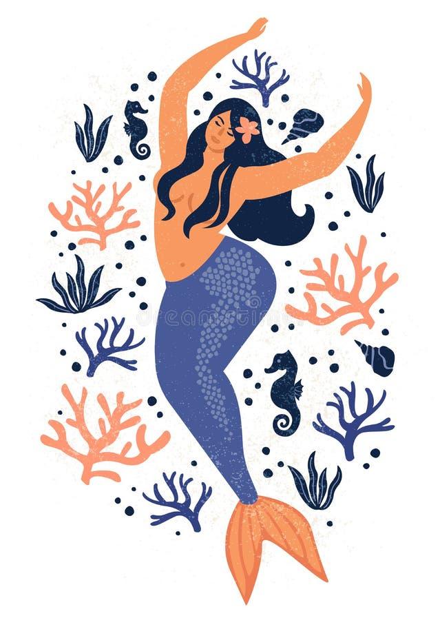 Onder de overzeese kaart met meermin, bladeren, zeeschelpen en vissen Eenvoudige en leuke illustratiepastelkleuren royalty-vrije illustratie