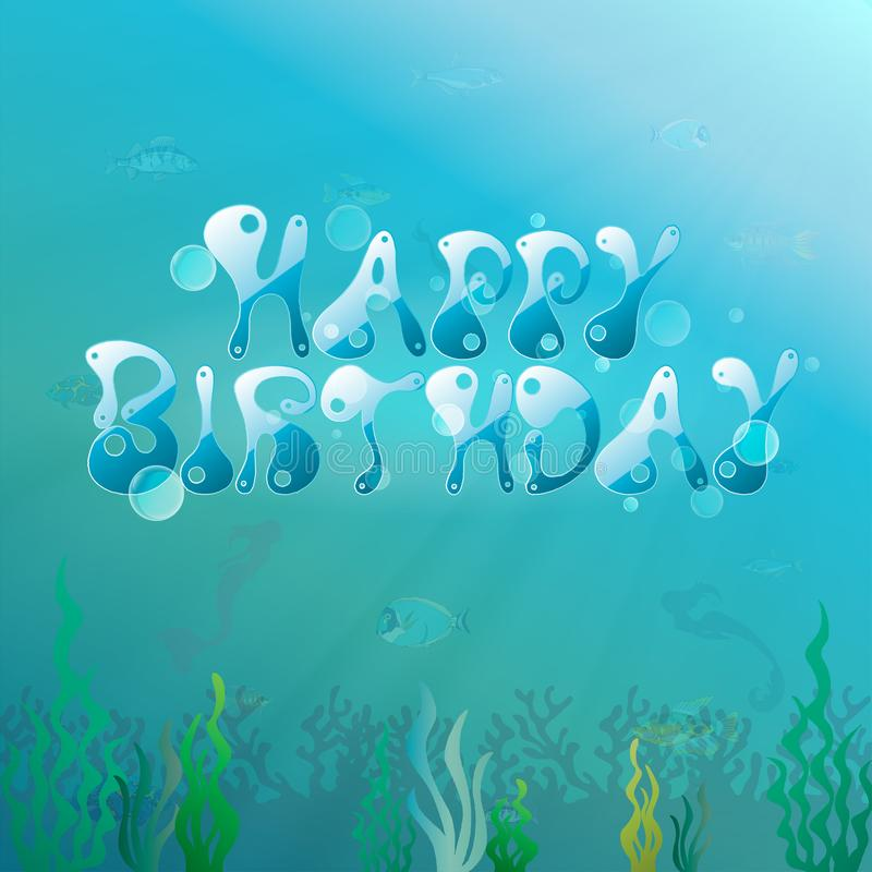 Onder de overzeese partij/het Gelukkige verjaardags onderwaterthema, Vector de kaartenachtergrond van de illustratieuitnodiging vector illustratie
