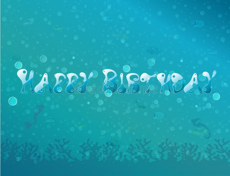 Onder de overzeese partij/het Gelukkige verjaardags onderwaterthema, Vector de kaartenachtergrond van de illustratieuitnodiging royalty-vrije stock afbeelding
