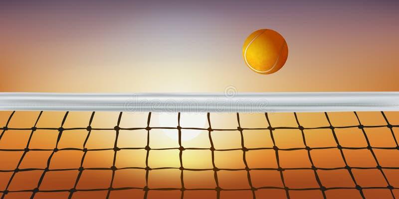 Onder de zon, gaat een bal over het net van een tennisbaan stock illustratie