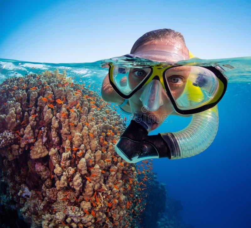 Onder en hierboven - watermening van vrouw het snorkelen royalty-vrije stock fotografie