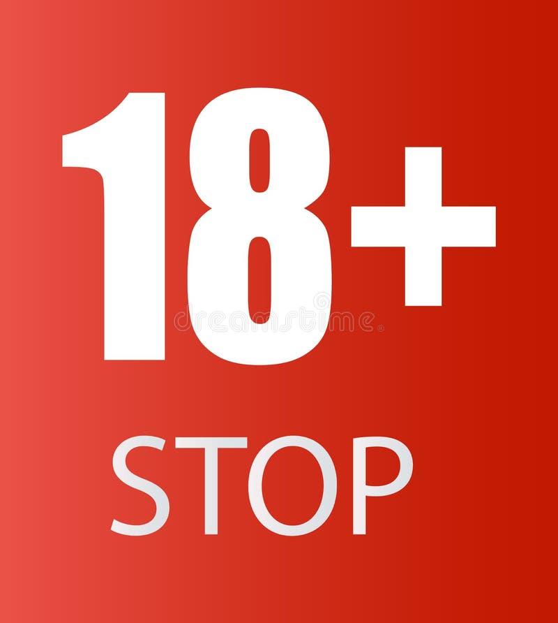 Onder 18 jaar oud verbiedend teken voor slechts volwassenen Nummer achttien op een rode achtergrond royalty-vrije illustratie