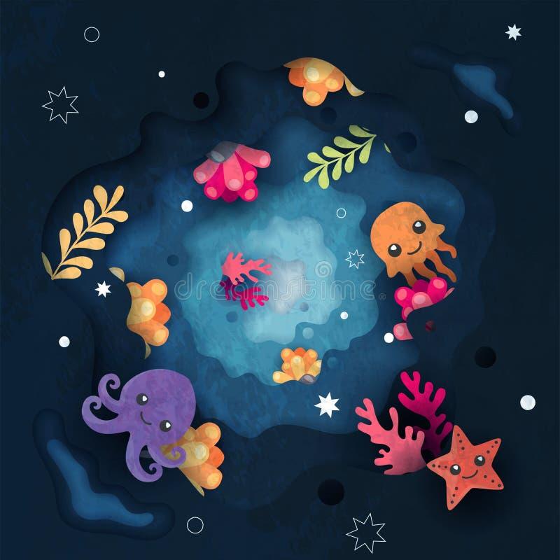 Onder leuke het beeldverhaalachtergrond van het waterleven vector illustratie