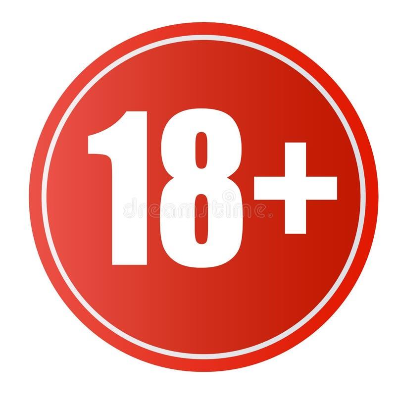Onder 18 van het verbodsjaar teken Slechts volwassenen Nummer achttien in rode gekruiste cirkel Symbolen die op wit worden geïsol stock illustratie