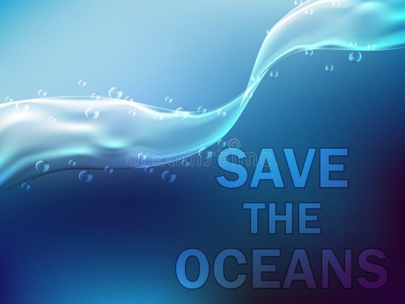 Onder water Het blauwe overzees en de stralen van de zon en de bellen royalty-vrije illustratie