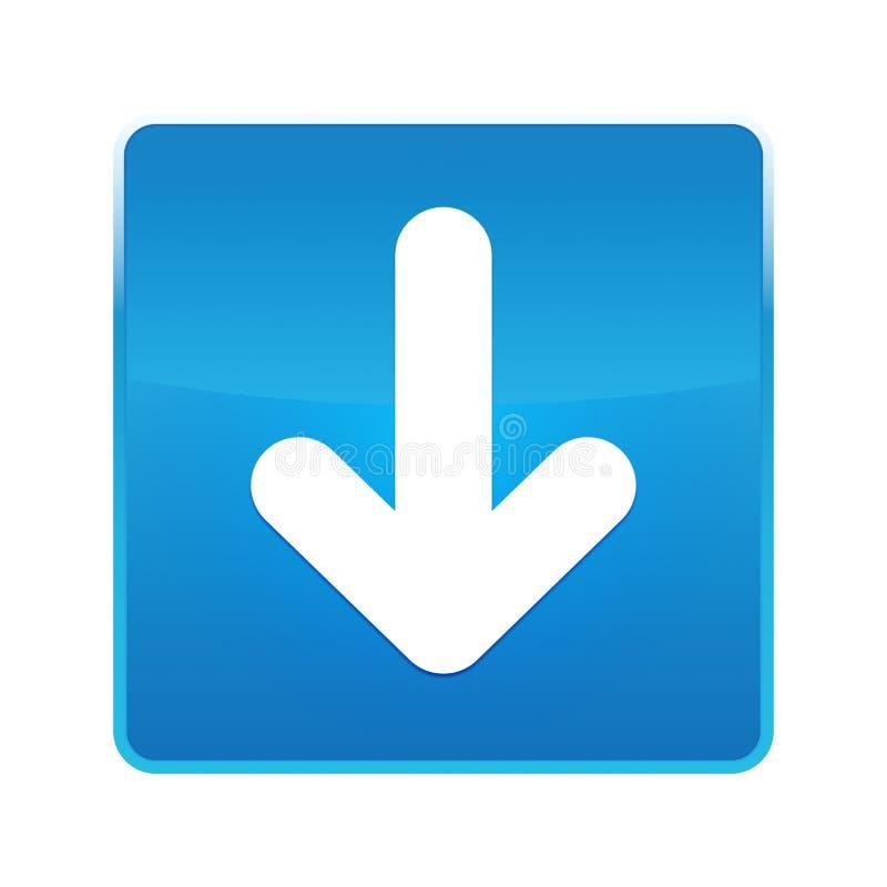Onderaan de glanzende blauwe vierkante knoop van het pijlpictogram royalty-vrije illustratie