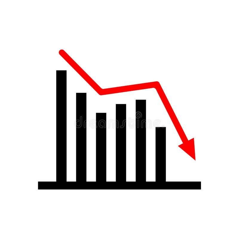 Onderaan neigende bedrijfsgrafiek Zwarte en rood vector illustratie