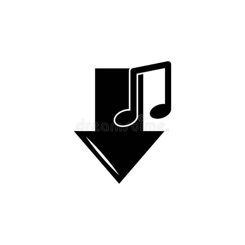onderaan pijl en notapictogram Element van muziekpictogram Grafisch het ontwerppictogram van de premiekwaliteit Tekens en symbole stock illustratie