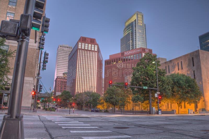 Onderaan Stad Omaha Nebraska stock foto's