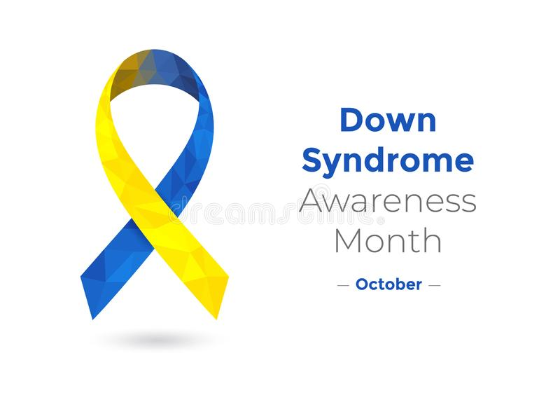 Onderaan Syndrom-lint van de Dag het blauwe en gele voorlichting royalty-vrije illustratie