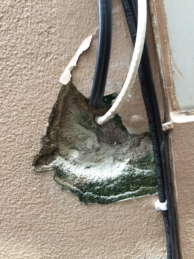 Onderbreking in de muur met uitpuilende elektrodraden, het Elektrische draad plakken uit een witte muur, de muur van het barstgat stock fotografie
