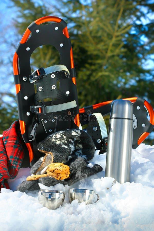 Onderbreking van de koffie en de koekjes van de de winterpret royalty-vrije stock afbeeldingen