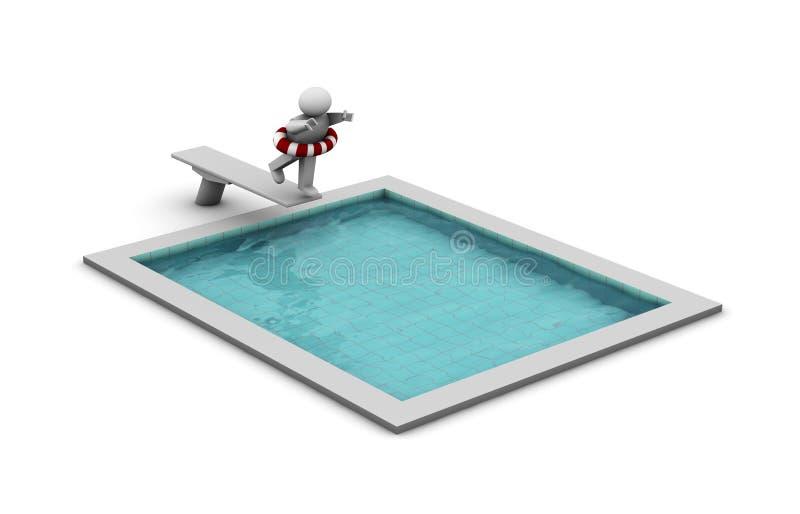 Onderdompeling in de pool royalty-vrije illustratie