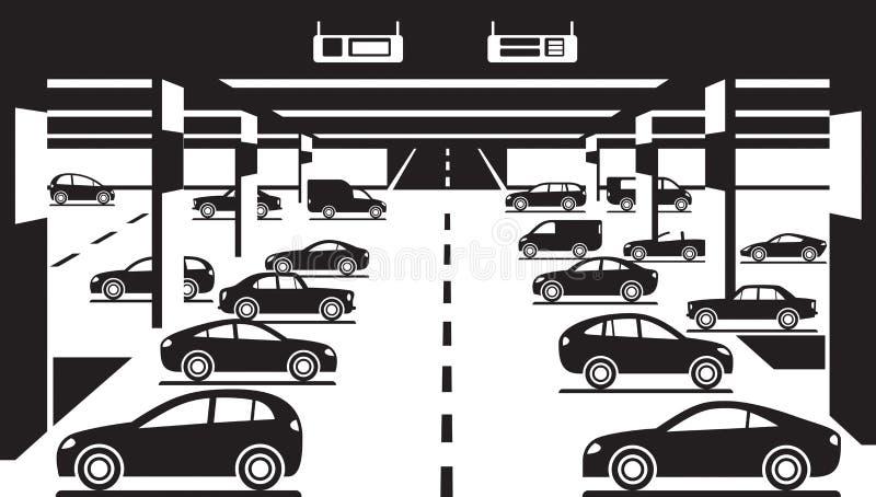 Ondergronds autoparkeren vector illustratie