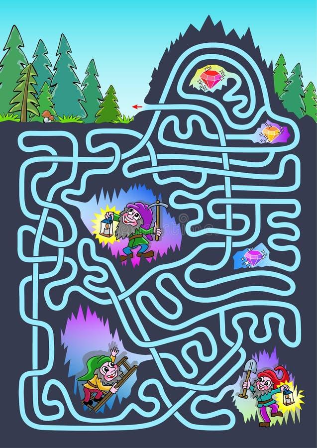 Ondergronds labyrint voor jonge geitjes - kleur vector illustratie
