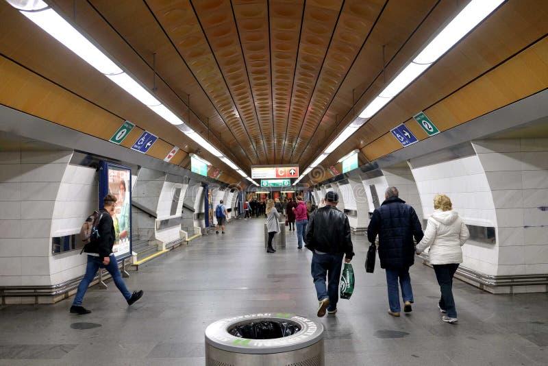 Ondergrondse hal van het metro postmuseum in Praag royalty-vrije stock foto