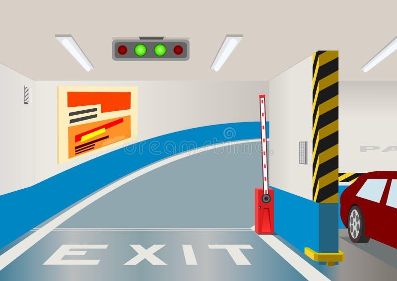 Ondergrondse parkerengarage. stock illustratie